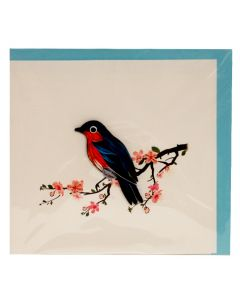 Bird with Cherry Blossoms Quilling Card