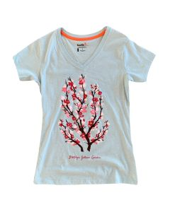 Adult Womens Short Sleeve Cherry Blossom V-Neck Tee
